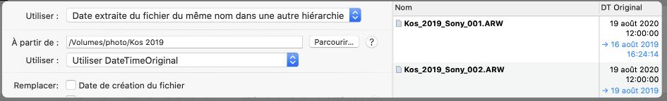 Utiliser les dates de fichiers du même nom dans une hiérarchie différente