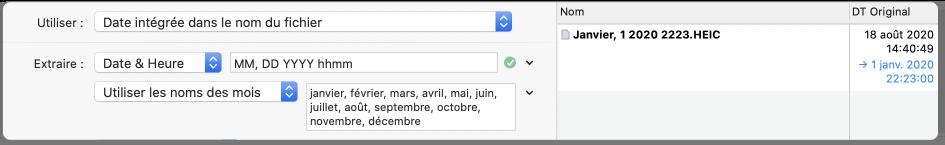 dates intégrées au nom de fichier