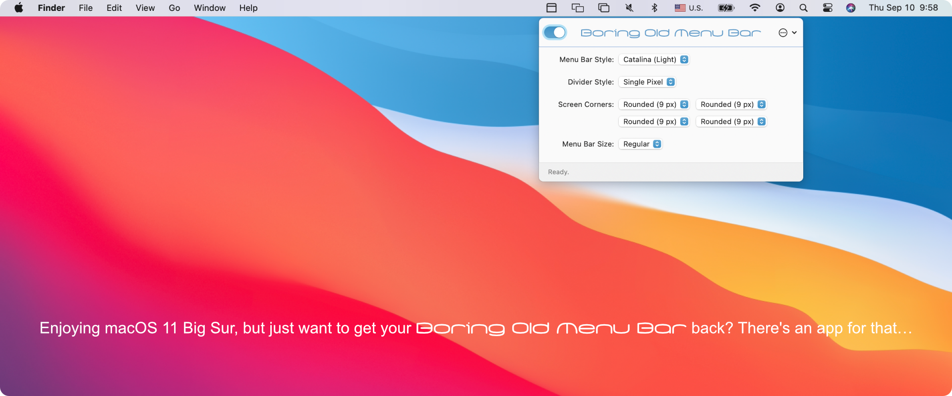 Boring Old Menu Bar 1.17 Mac 破解版 Big Sur菜单栏优化工具