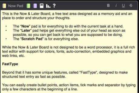 now & later board screenshot